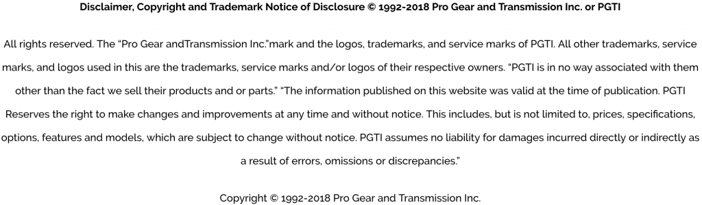 ProGear sy Transmission Disclaimer