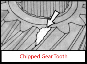 chipped PTO gear tooth